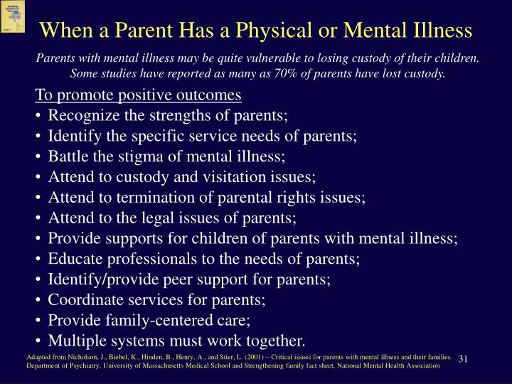 When a Parent Has a Physical or Mental Illness