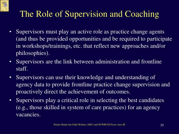 The Role of Supervision and Coaching