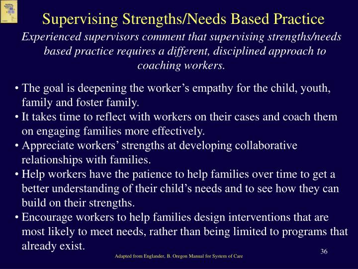 Supervising Strengths/Needs Based Practice