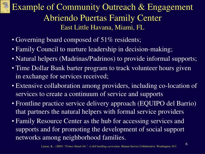 Example of Community Outreach & Engagement