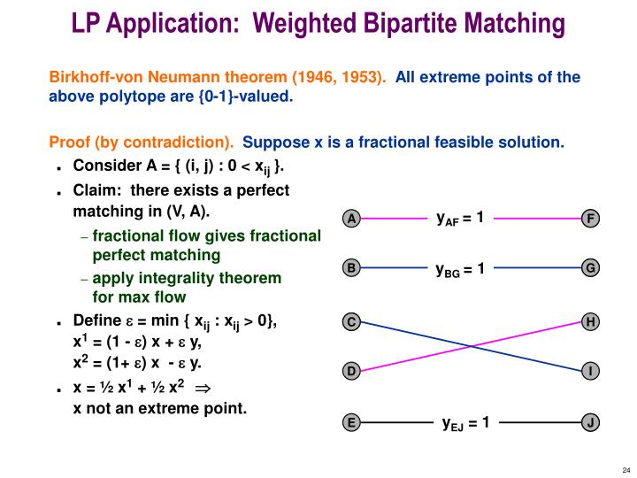 LP Application:  Weighted Bipartite Matching