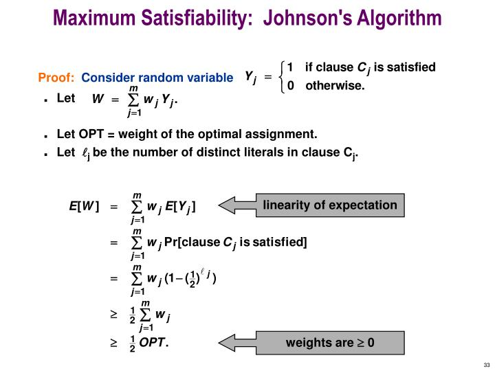 Maximum Satisfiability:  Johnson's Algorithm
