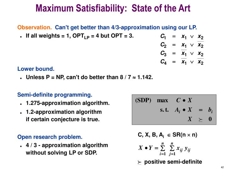 Maximum Satisfiability:  State of the Art