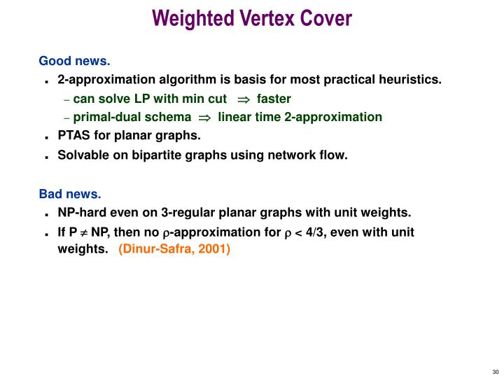 Weighted Vertex Cover