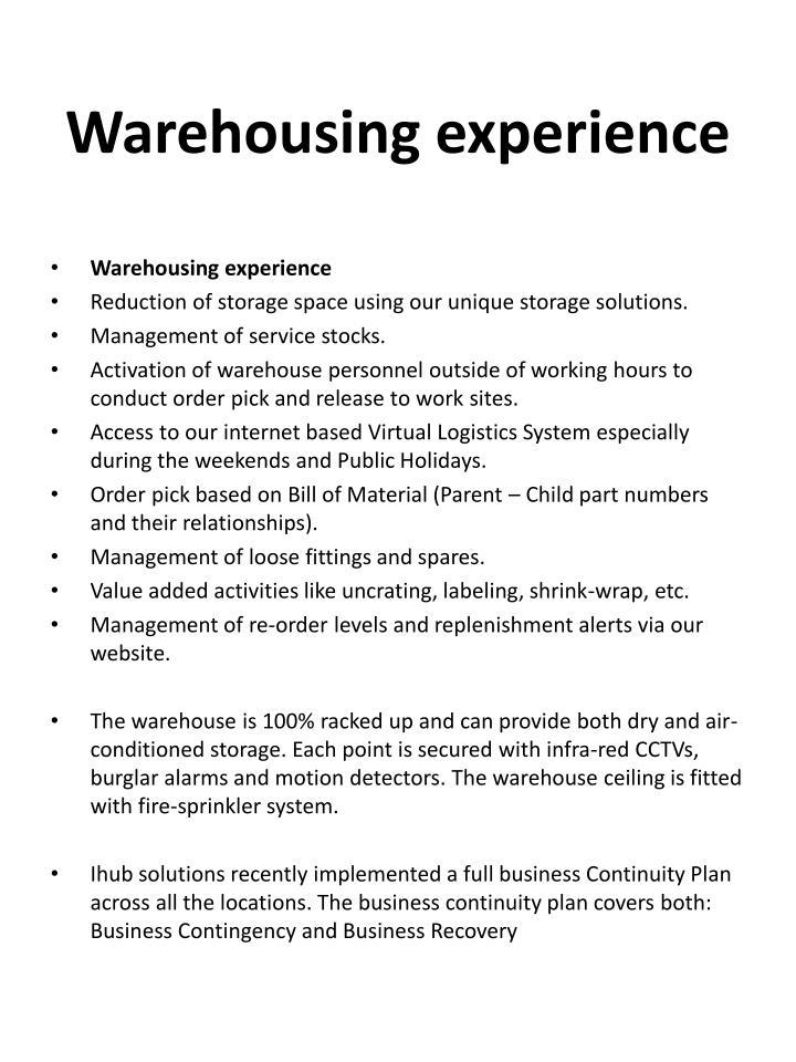 Warehousing experience