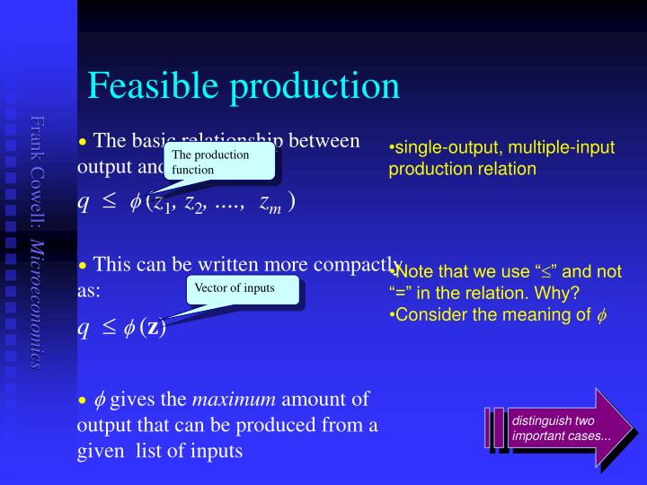 Feasible production