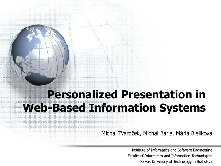 personalized presentation in web based information systems n.