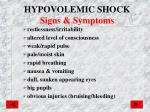 hypovolemic shock signs symptoms