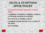 signs symptoms spine injury