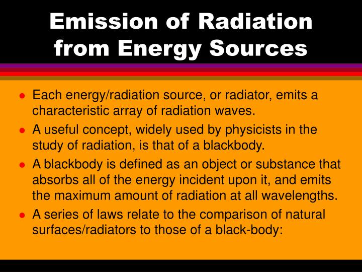 Emission of Radiation from Energy Sources