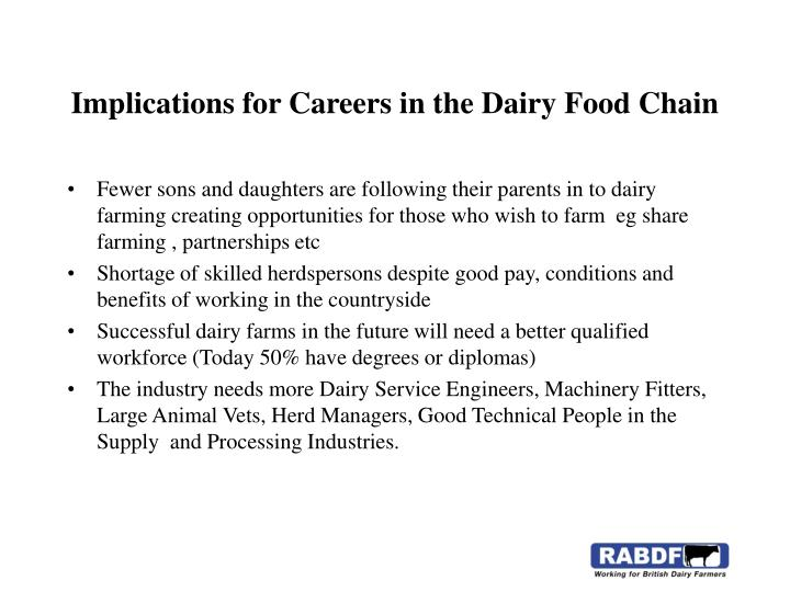 Implications for Careers in the Dairy Food Chain