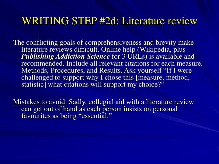 Writing A Scientific Literature Review