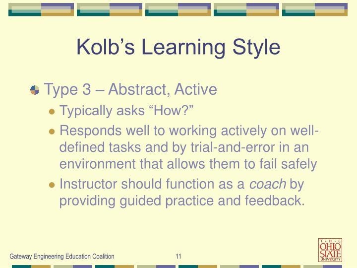 Kolb's Learning Style