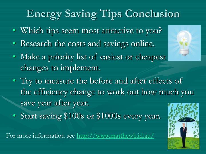 Energy Saving Tips Conclusion