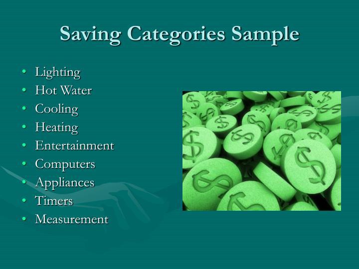 Saving categories sample