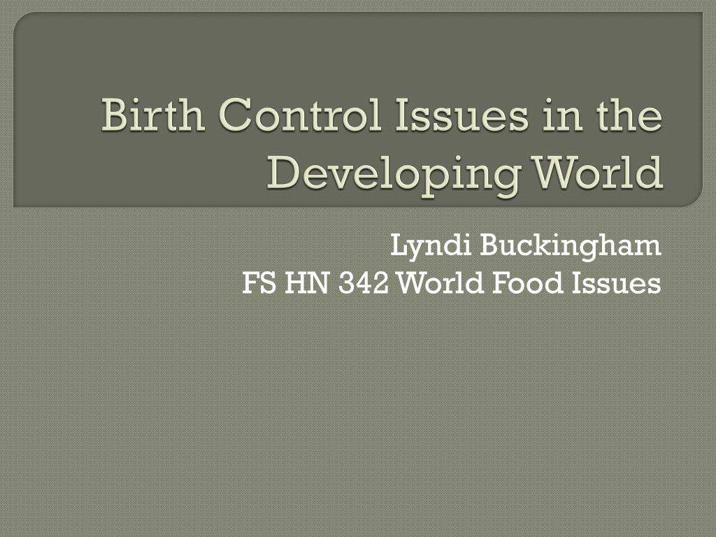 birth control issues in the developing world