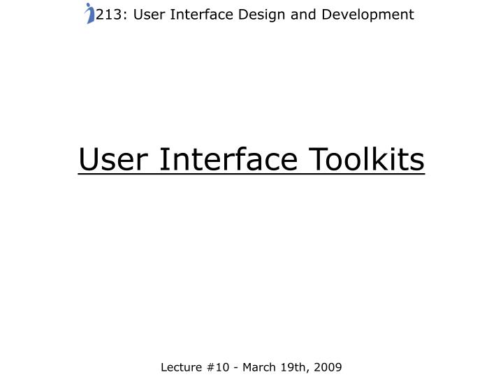 user interface toolkits n.