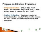 program and student evaluation