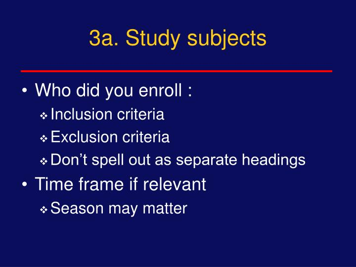 3a. Study subjects