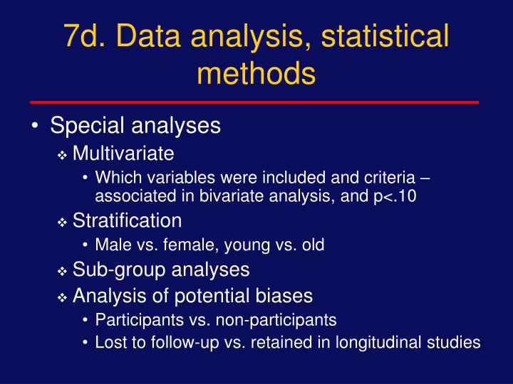 7d. Data analysis, statistical methods