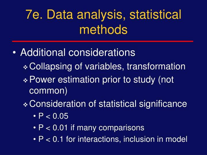 7e. Data analysis, statistical methods