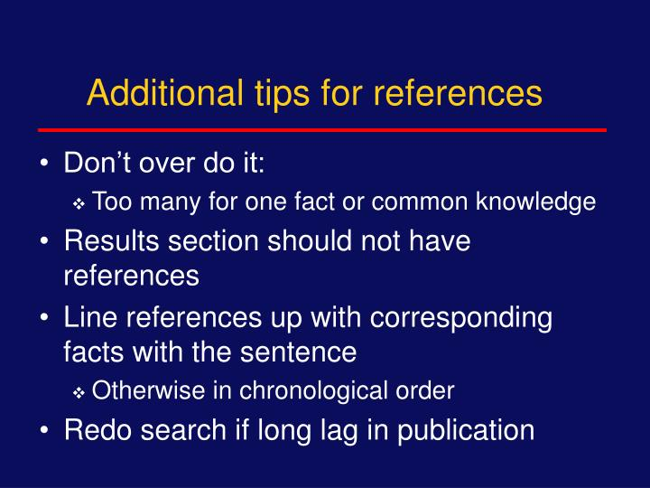 Additional tips for references