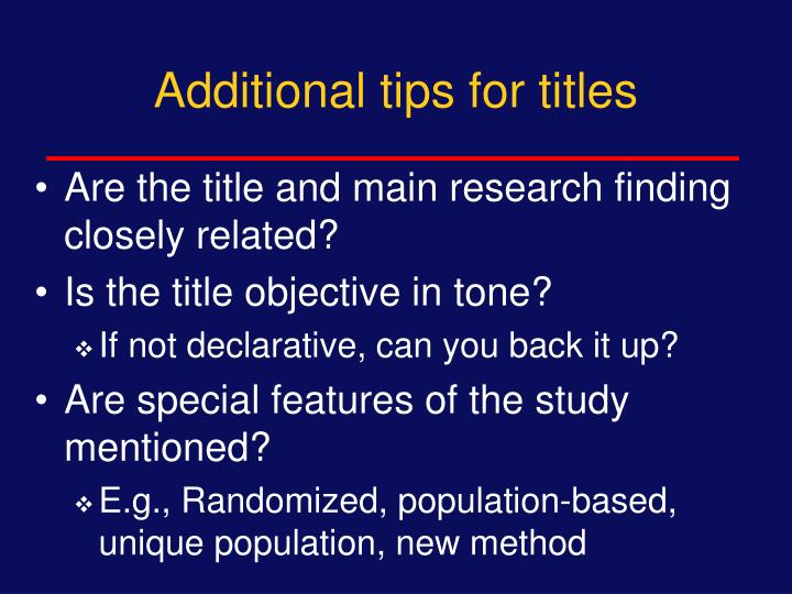 Additional tips for titles
