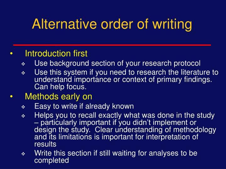 Alternative order of writing