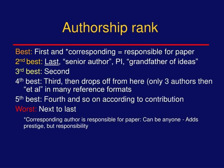 Authorship rank