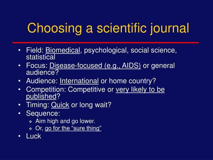 Choosing a scientific journal