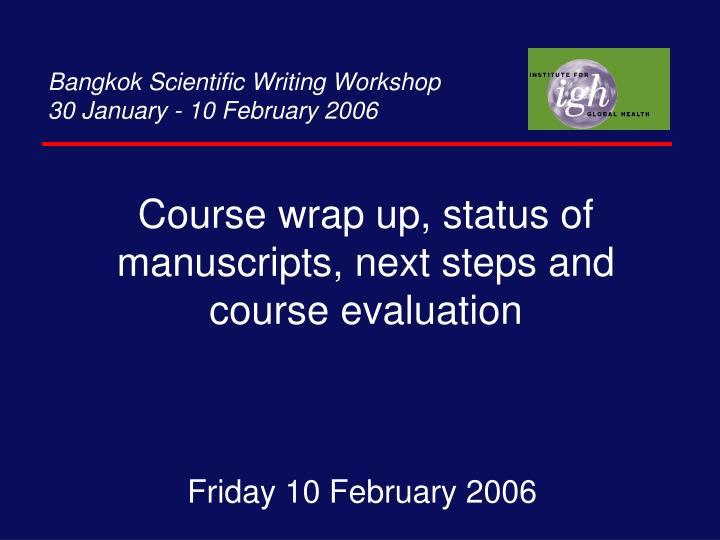 Bangkok Scientific Writing Workshop