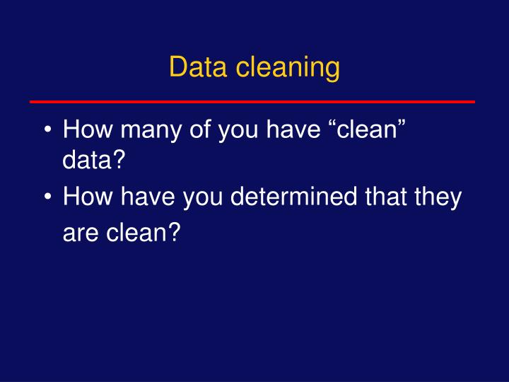 Data cleaning