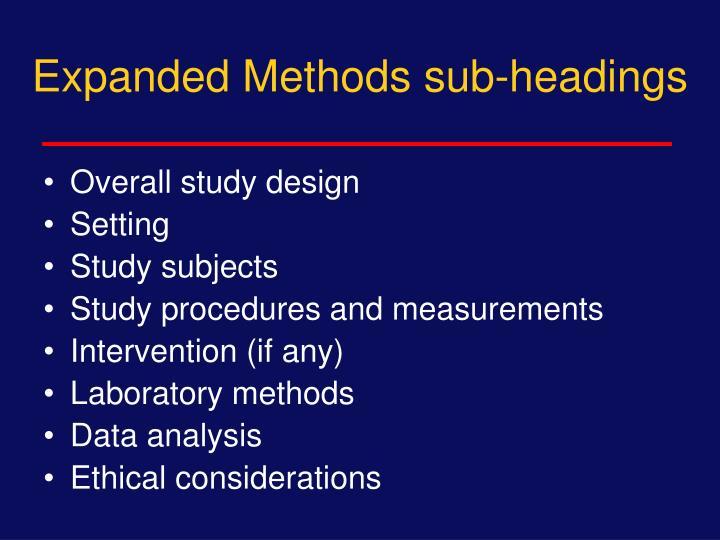 Expanded Methods sub-headings