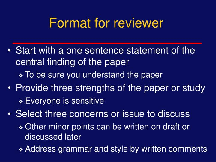 Format for reviewer