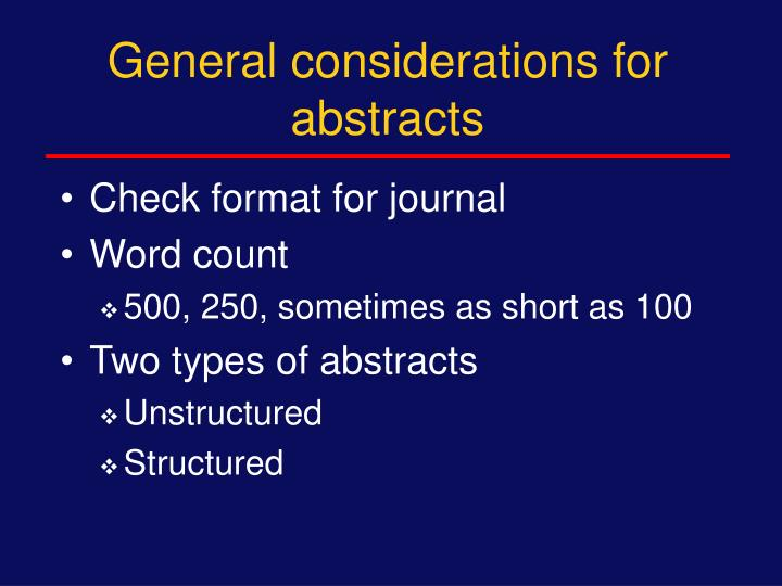 General considerations for abstracts