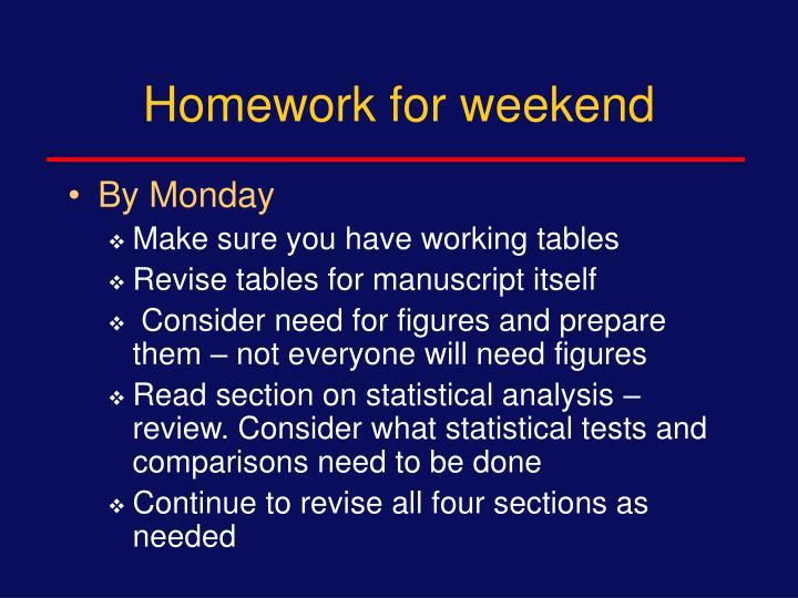 Homework for weekend