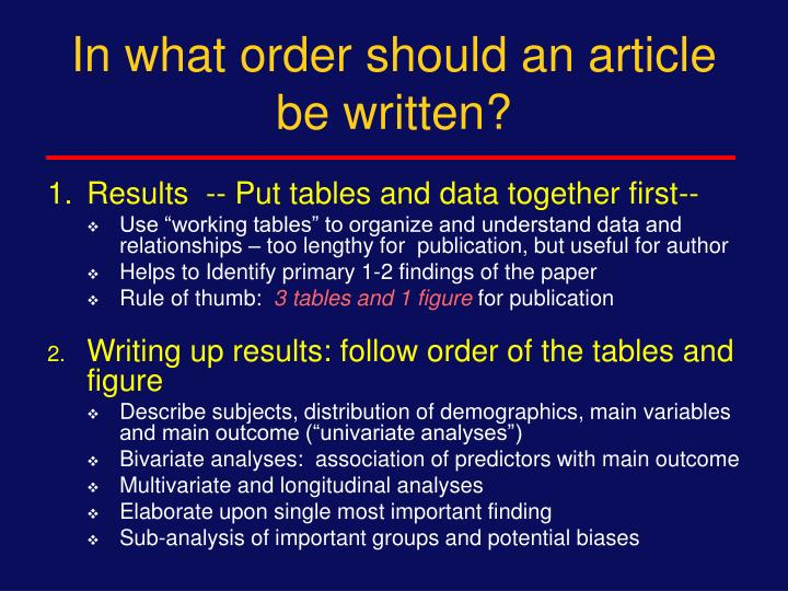 In what order should an article be written?