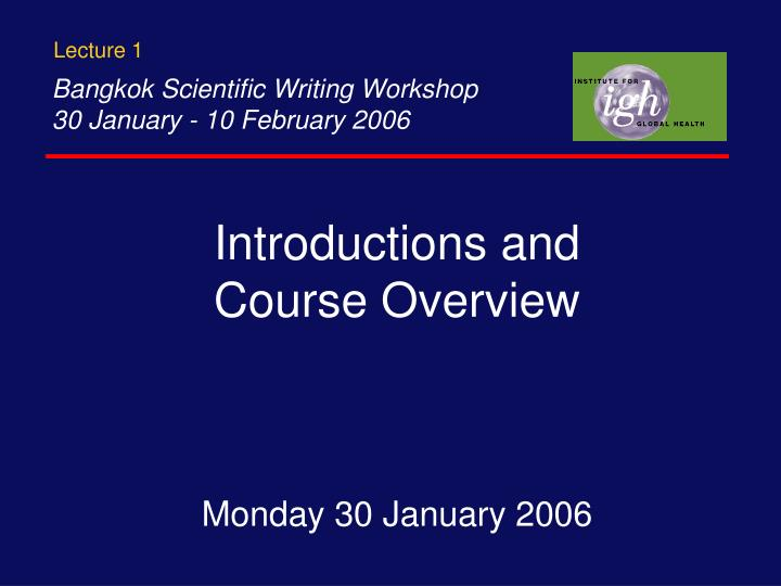 introductions and course overview n.