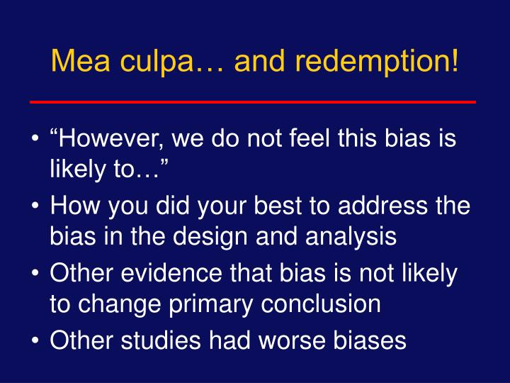 Mea culpa… and redemption!