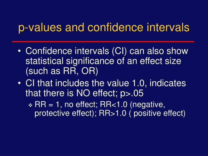 p-values and confidence intervals