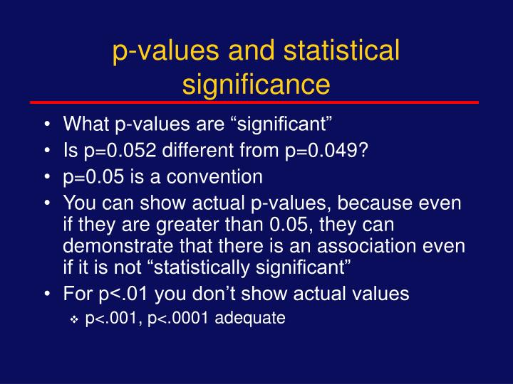 p-values and statistical significance