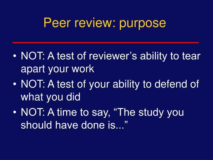 Peer review: purpose