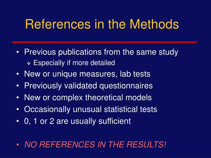 References in the Methods