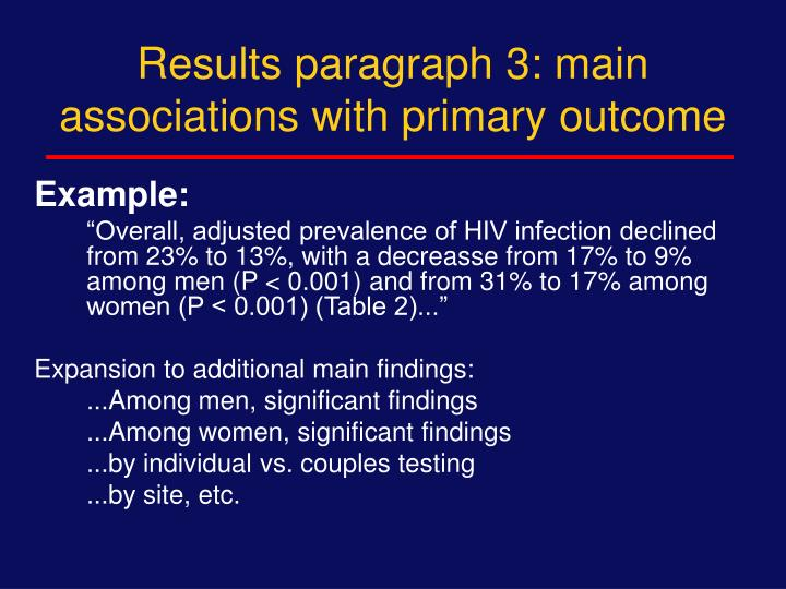 Results paragraph 3: main associations with primary outcome
