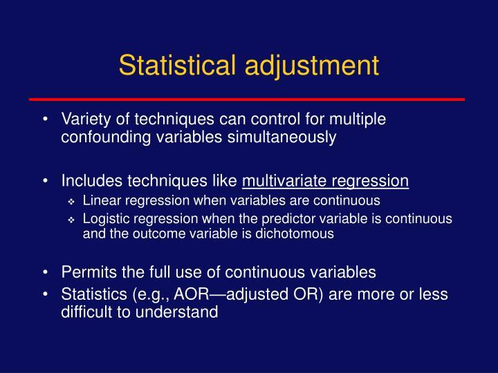 Statistical adjustment