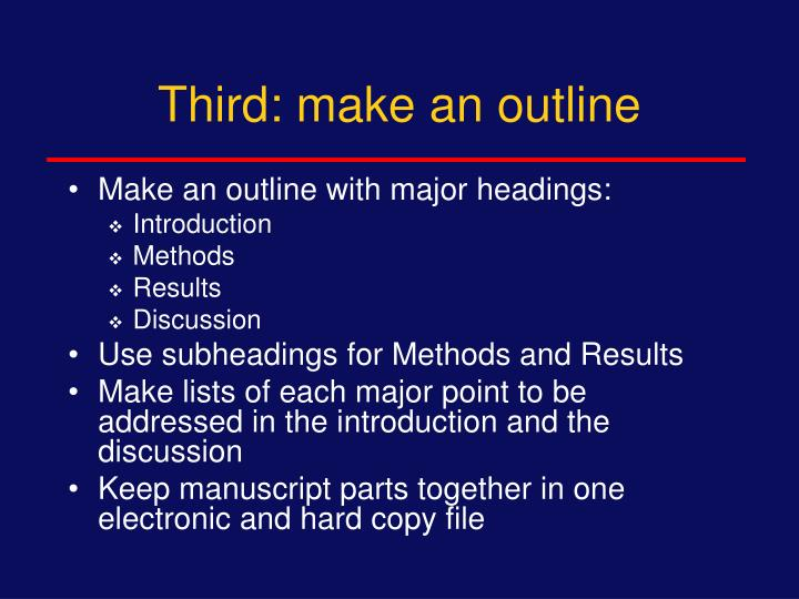 Third: make an outline