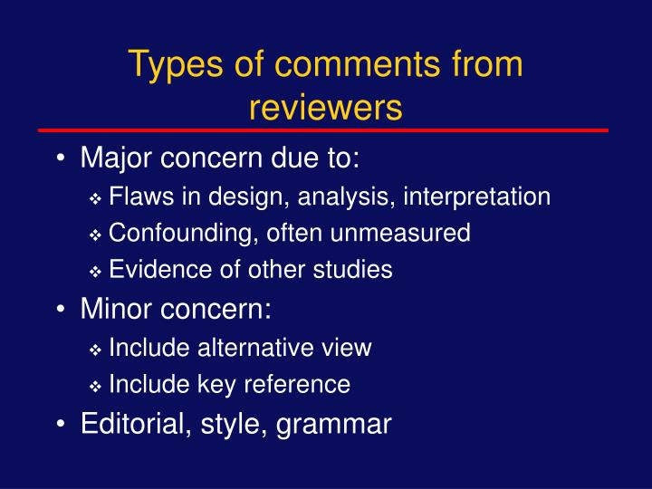 Types of comments from reviewers