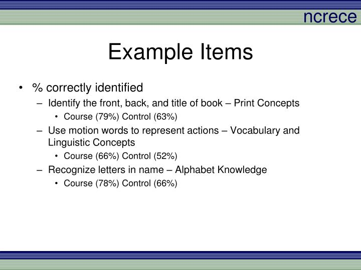 Example Items