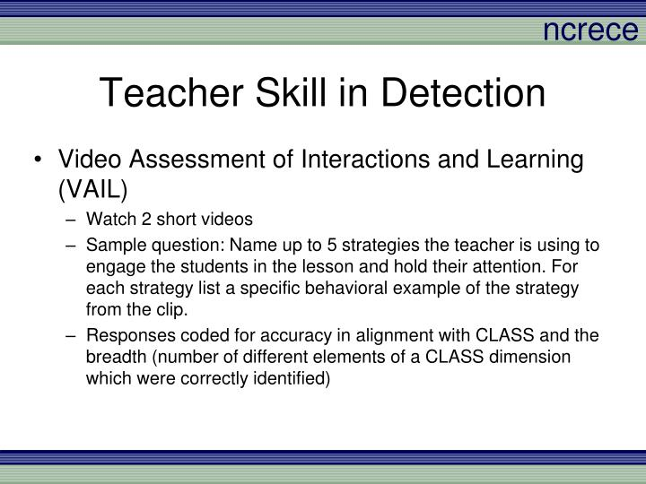 Teacher Skill in Detection