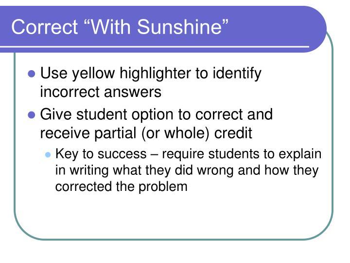 """Correct """"With Sunshine"""""""